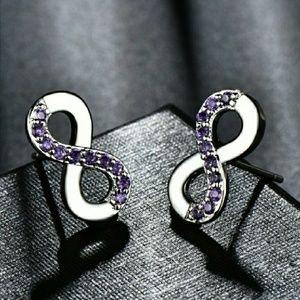 Sterling Silver Amethyst Infinity Stud Earrings